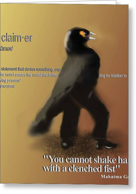 Corvus Greeting Cards - Disclaimer - Gandhi Greeting Card by Marcello Cicchini