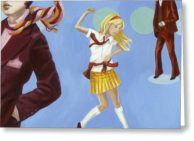 Dancing Girl Greeting Cards - Disco 2000 1 Acrylic & Oil On Canvas Greeting Card by Alix Soubiran-Hall