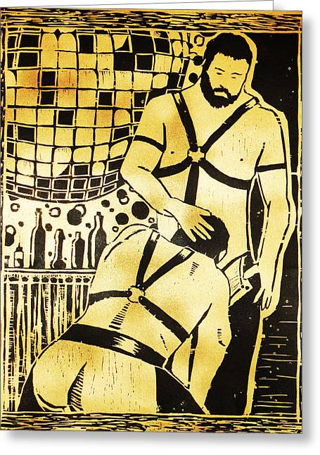 Homoerotic Mixed Media Greeting Cards - Disco Daddies Greeting Card by Eric Nilsson
