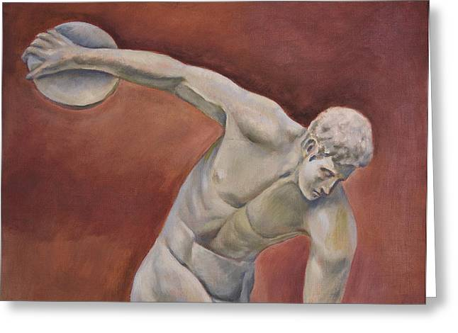 Proportions Of Man Greeting Cards - Discolobolus Greeting Card by Joseph Levine