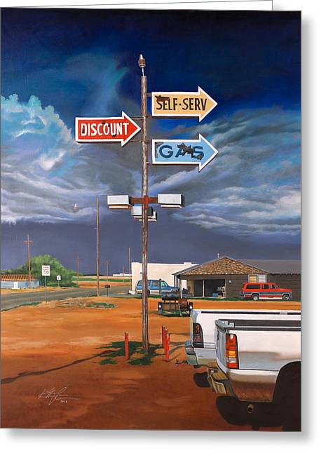 Pickup Greeting Cards - Discount Self-Serv Gas Greeting Card by Karl Melton