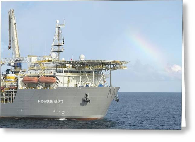 Drillship Greeting Cards - Discoverer Spirit and Rainbow Greeting Card by Bradford Martin