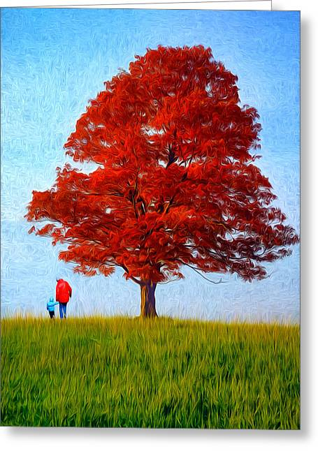 Mother And Child Prints Greeting Cards - Discovering Autumn - Paint Greeting Card by Steve Harrington