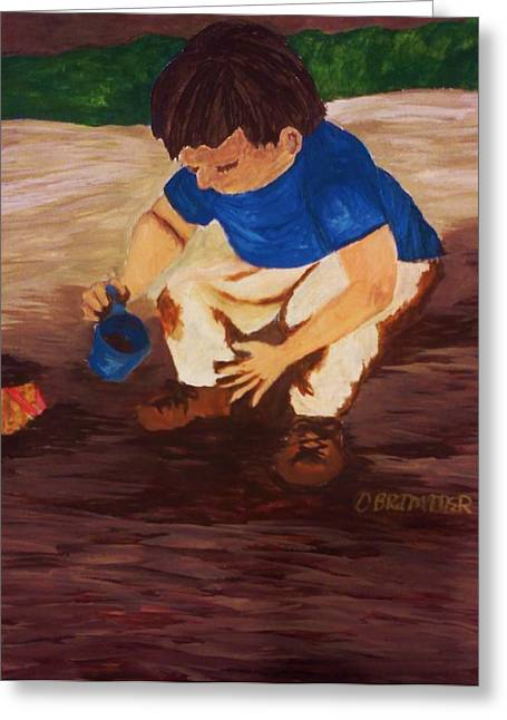 Mud Season Paintings Greeting Cards - Discovery  Greeting Card by Christy Brammer