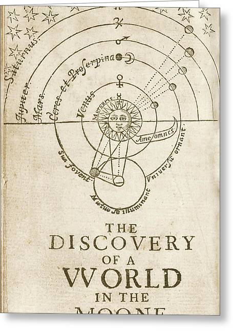 Discovery Of A World In The Moone (1638) Greeting Card by Library Of Congress