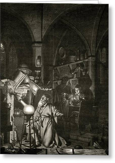European Artwork Greeting Cards - Discovery of phosphorus, 17th century Greeting Card by Science Photo Library