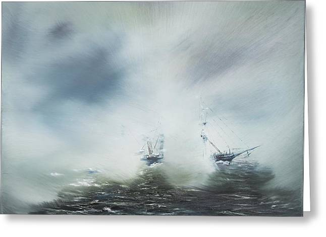 Foggy Ocean Paintings Greeting Cards - Discovery Greeting Card by Vincent Alexander Booth
