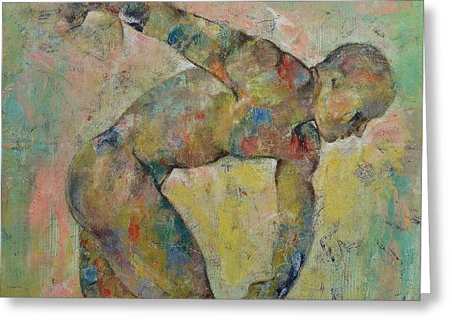 Olympics Art Greeting Cards - Discus Greeting Card by Michael Creese