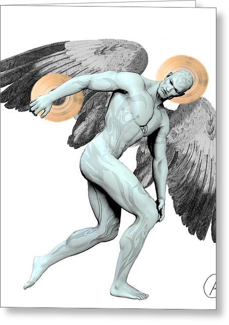 Killer Drawings Greeting Cards - Discus Thrower Nephilim By Quim Abella Greeting Card by Joaquin Abella