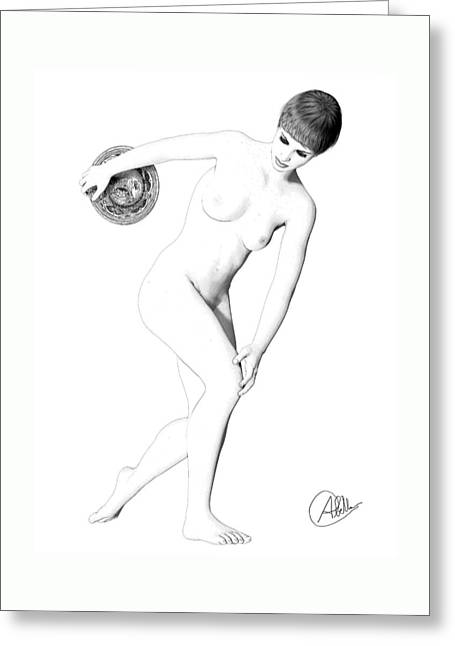 Sell Art Online Greeting Cards - Discus thrower exquisite Greeting Card by Quim Abella