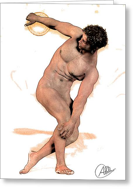 Killer Drawings Greeting Cards - Discus Thrower Hindu By Quim Abella Greeting Card by Joaquin Abella