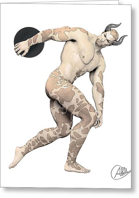 Stud Drawings Greeting Cards - Discus Thrower satyr By Quim Abella Greeting Card by Joaquin Abella