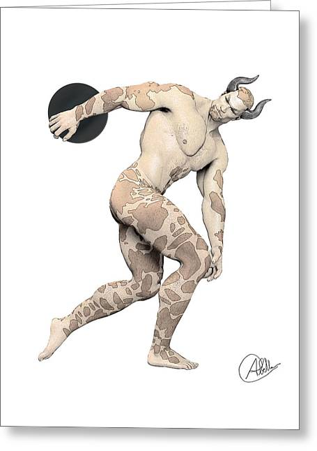 Sell Art Online Greeting Cards - Discus Thrower satyr Greeting Card by Quim Abella