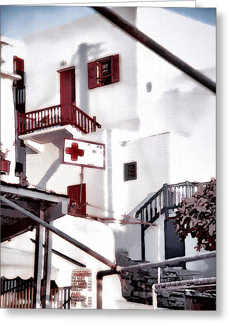 Sunlit Door Greeting Cards - Disembarkation in Mykonos Greeting Card by Barbara D Richards