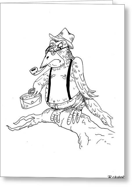 Suspenders Drawings Greeting Cards - Disgruntled Old Bird Greeting Card by Bob Gruber