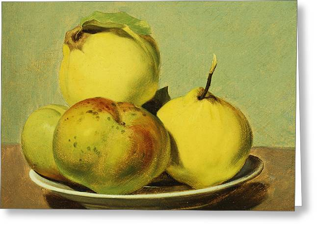 Quince Greeting Cards - Dish of Apples and Quinces Greeting Card by David Johnson