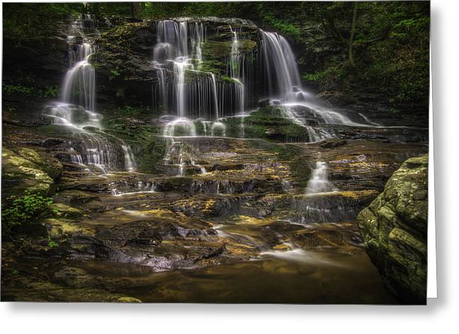 Canoe Waterfall Photographs Greeting Cards - Disharoon Creek Lower Falls Greeting Card by Charles Stackpole