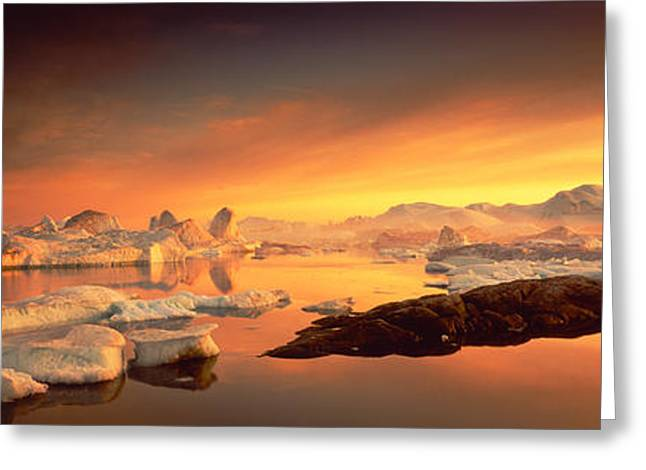 Mysterious Sunset Greeting Cards - Disko Bay, Greenland Greeting Card by Panoramic Images