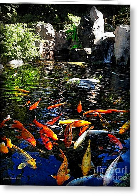 Epcot Center Greeting Cards - Disney Epcot Japanese Koi Pond Greeting Card by Joan  Minchak