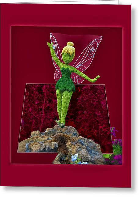 Tinker Bell Greeting Cards - Disney Floral Tinker Bell 01 Greeting Card by Thomas Woolworth
