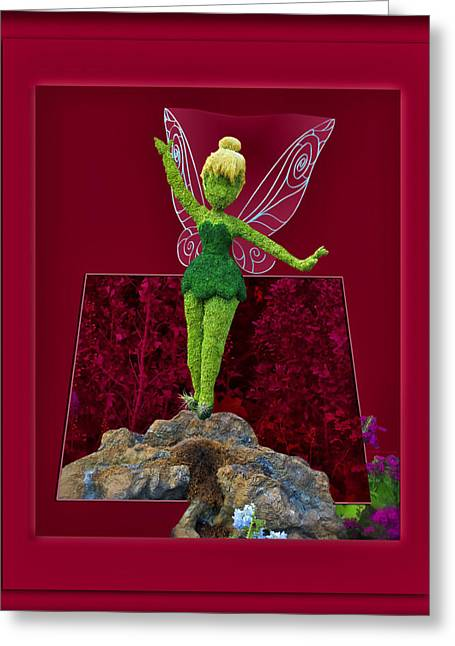 Tinker Bell Greeting Cards - Disney Floral Tinker Bell 02 Greeting Card by Thomas Woolworth