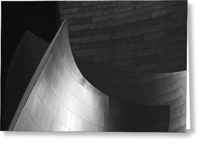 Beautiful Abstracts Greeting Cards - Disney Hall Abstract Black and White Greeting Card by Rona Black