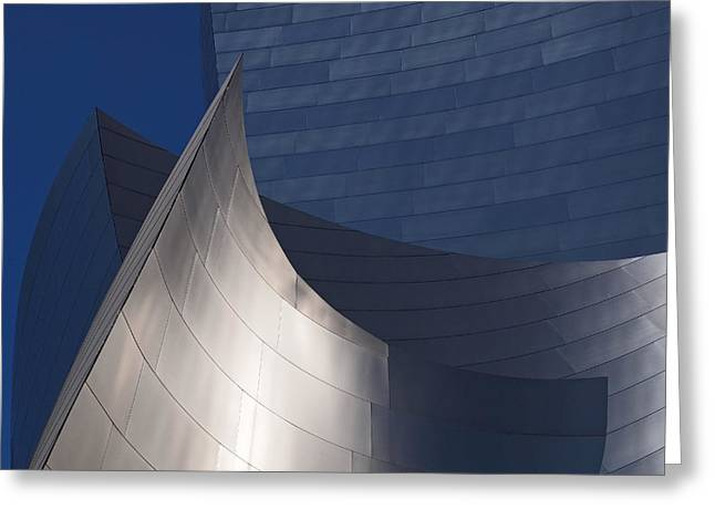 Steel Greeting Cards - Disney Hall Abstract Greeting Card by Rona Black