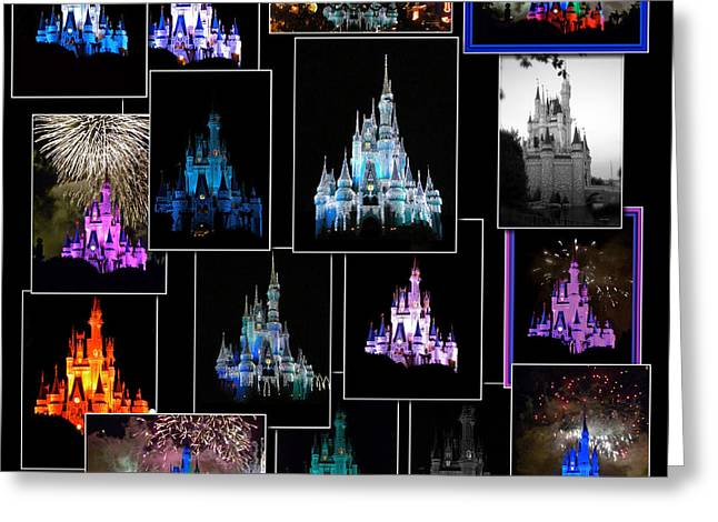 World Showcase Lagoon Greeting Cards - Disney Magic Kingdom Castle Collage Greeting Card by Thomas Woolworth