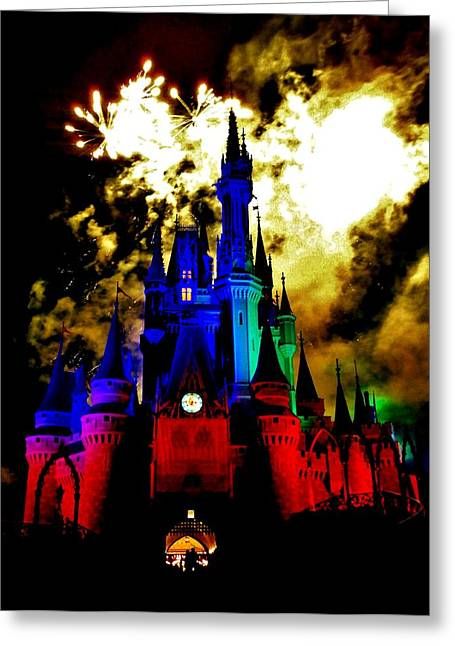 Cinderellas Castle Greeting Cards - Disney Night Fireworks Greeting Card by Benjamin Yeager