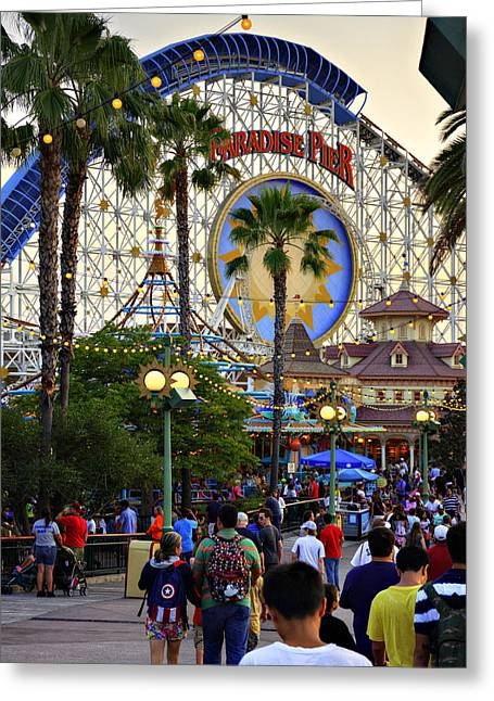 Paradise Pier Attraction Greeting Cards - Disney Paradise Greeting Card by Ricky Barnard