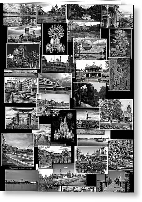 Experimental Prototype Community Of Tomorrow Greeting Cards - Disney World Collage In Black and White Greeting Card by Thomas Woolworth