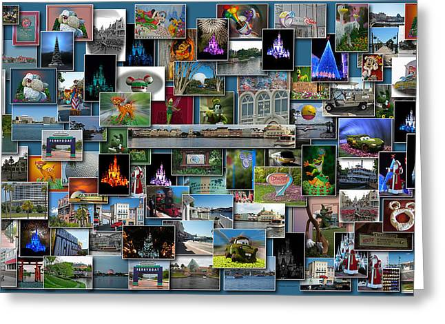 Epcot Center Greeting Cards - Disney World Collage Rectangle Greeting Card by Thomas Woolworth