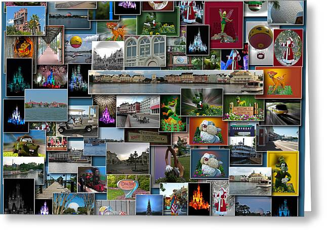 Disney World Collage Square Greeting Card by Thomas Woolworth