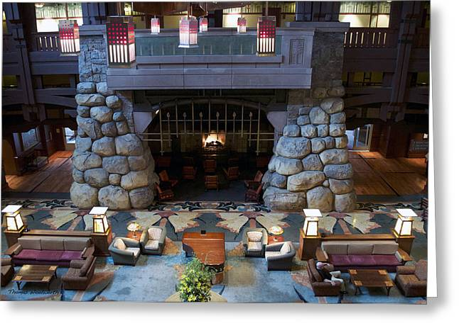 Mickey Mantle Prints Greeting Cards - Disneyland Grand Californian Hotel Fireplace 01 Greeting Card by Thomas Woolworth