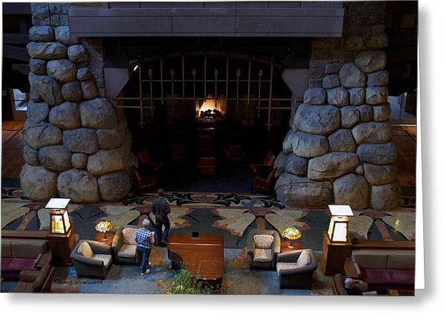 Mickey Mantle Prints Greeting Cards - Disneyland Grand Californian Hotel Fireplace 02 Greeting Card by Thomas Woolworth