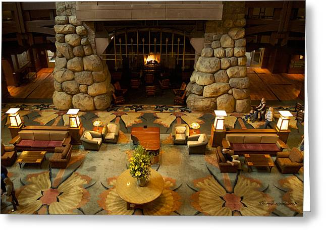 Mickey Mantle Prints Greeting Cards - Disneyland Grand Californian Hotel Fireplace 03 Greeting Card by Thomas Woolworth