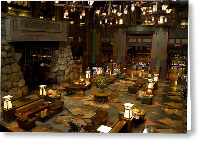 Mickey Mantle Prints Greeting Cards - Disneyland Grand Californian Hotel Lobby 02 Greeting Card by Thomas Woolworth