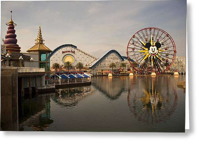 Paradise Pier Attraction Greeting Cards - DisneyLand Greeting Card by Malania Hammer