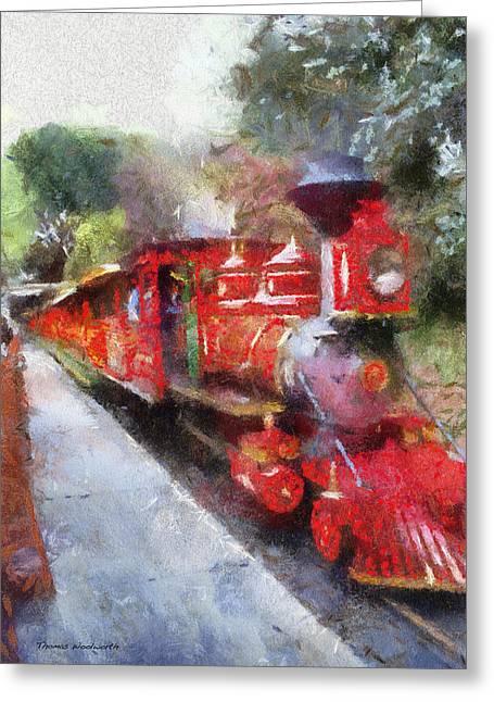 Amusements Greeting Cards - Disneyland RR Engine 4 Photo Art 02 Greeting Card by Thomas Woolworth