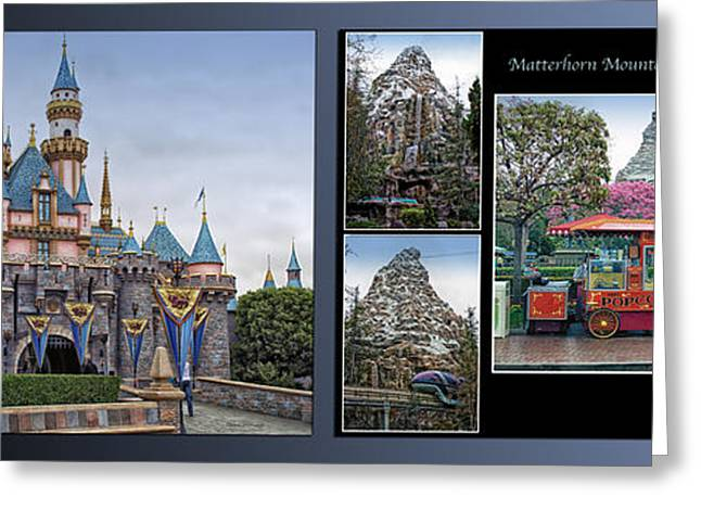 Amusements Greeting Cards - Disneyland Sleeping Beauty Castle And Matterhorn Collage 2 Panel Greeting Card by Thomas Woolworth