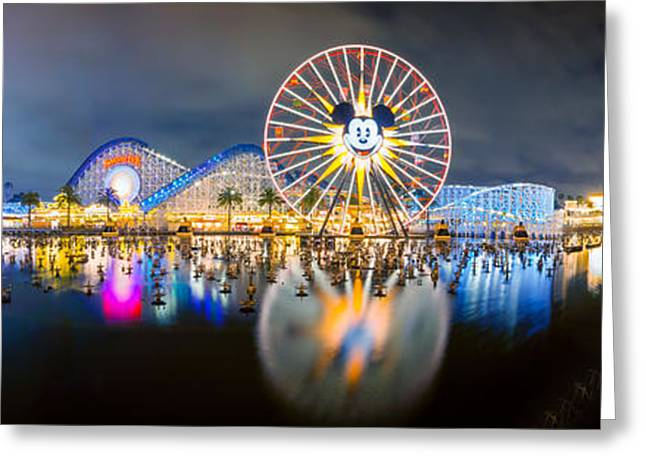California Adventure Park Greeting Cards - Disneyland World of Color Panoramic Shot Greeting Card by Jerome Obille