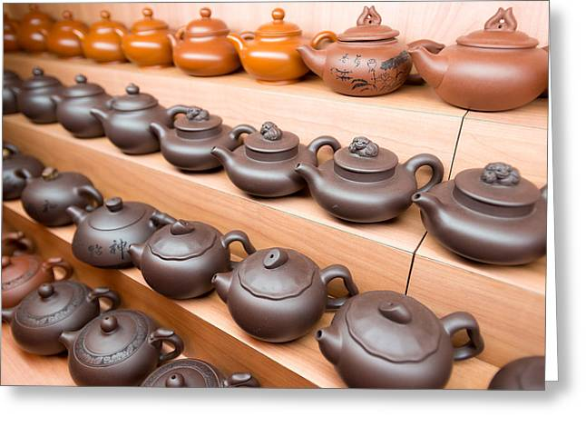 Retail Art Greeting Cards - Display Of Chinese Teapots, Chinatown Greeting Card by Panoramic Images