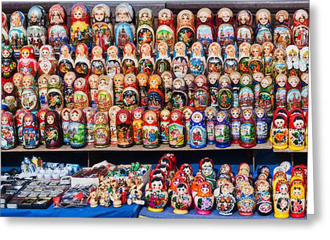 Female Likeness Greeting Cards - Display Of The Russian Nesting Dolls Greeting Card by Panoramic Images