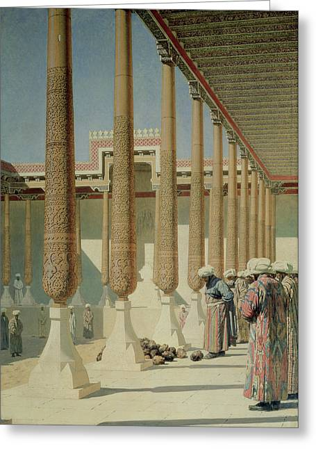 Inspecting Greeting Cards - Display Of Trophies, 1871-72 Oil On Canvas Greeting Card by Vasili Vasilievich Vereshchagin