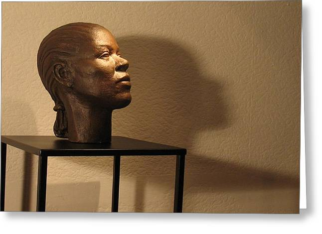 Woman Head Sculpture Sculptures Greeting Cards - Display sculpture - 2 Greeting Card by Flow Fitzgerald