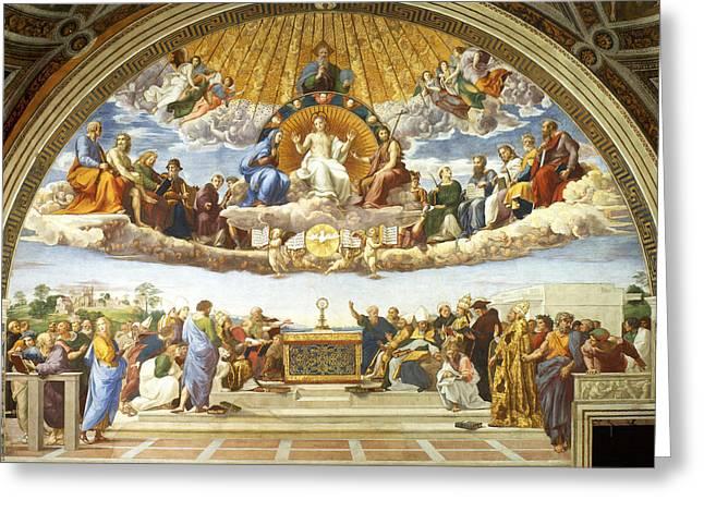 Sacrament Greeting Cards - Disputation of Holy Sacrament. Greeting Card by Raphael