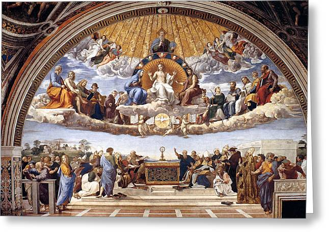 Eucharist Greeting Cards - Disputation of the Eucharist  Greeting Card by Raphael