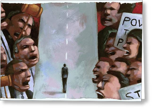 Protesters Paintings Greeting Cards - Dispute Greeting Card by Steve Dininno