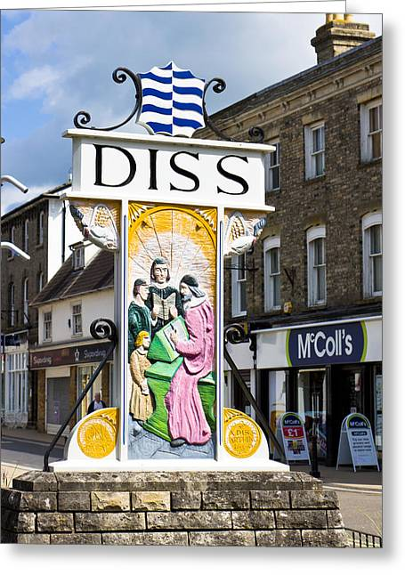 East Anglia Greeting Cards - Diss sign Greeting Card by Tom Gowanlock