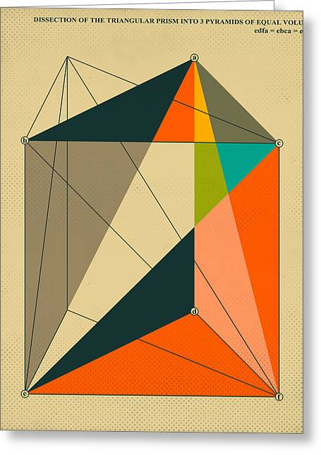 Mathematics Digital Greeting Cards - Dissection Of The Triangular Prism Into 3 Pyramids Of Equal Volume Greeting Card by Jazzberry Blue